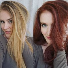 A hair transformation from blonde to bright and rich red. Different looks - both very fun!