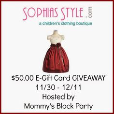Mommy's Block Party: Sweet Holiday Style: Sophia's Style #Review + $50 GC #Giveaway