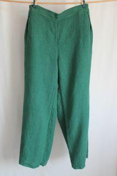 COCON.COMMERZ PRIVATSACHEN Hose im Marlenestil aus Leinen in grün Größe 2