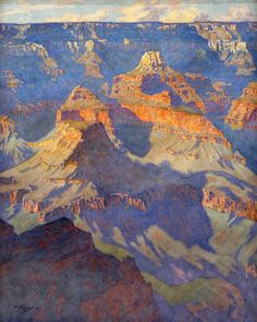 """View from the South Rim of Inner Canyon,"" Gunnar Widforss, early watercolor on paper. 18 x Grand Canyon National Park. Watercolor Landscape, Abstract Landscape, Watercolor Paintings, Seascape Paintings, Landscape Paintings, Oil Paintings, National Park Posters, Southwest Art, Grand Canyon National Park"