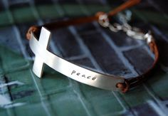 gorgeous Artisan handmade silver cross bracelet, can be customized. $69 I want this for Christmas I think!!