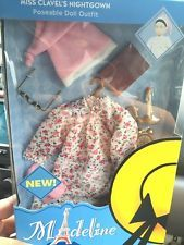 """NIB 10"""" Madeline Doll Miss Clavel's Floral Nightgown, and Accessories"""