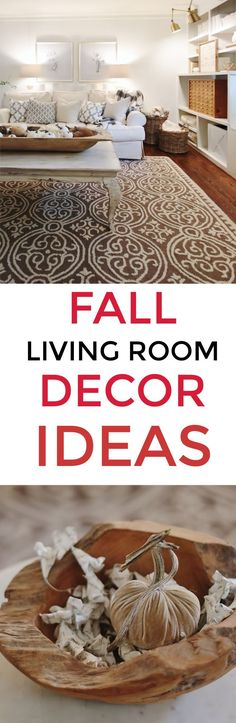 Looking for simple ideas to decorate for fall? Here are tons of living room fall decor ideas and simple projects for the fall season. Living room decor. Living room decorating. Fall living room decor. Fall living room decorating ideas.