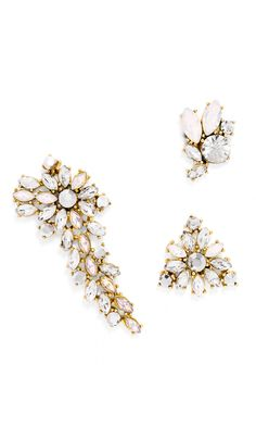 f3daeb435b46 Asymmetrical Crystal Earring Hire - Bauble Bar - Front Dress Hire