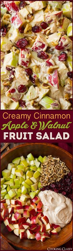 Creamy Cinnamon Apple and Walnut Fruit Salad - Cooking Classy Creamy Cinnamon Apple and Walnut Fruit Salad - Cooking Classy Original art. Dessert Salads, Fruit Salad Recipes, Jello Salads, Apple Fruit Salad Recipe, Breakfast Fruit Salad, Creamy Fruit Salads, Dessert Recipes, Healthy Snacks, Healthy Eating