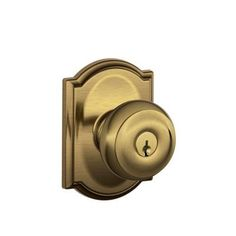 Schlage Camelot Collection Antique Brass Georgian Keyed Entry Knob-F51A GEO 609 CAM - The Home Depot