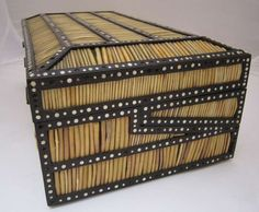 British Raj Colonial India Porcupine Quill Writing Box   HEIGHT:6 in. (15 cm) WIDTH:20 in. (51 cm) DEPTH:15.5 in. (39 cm)