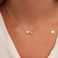 Hot fashion 26 letter & heart-shaped charm pendant necklace women simple necklace,lovers gift gold p