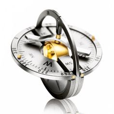 (36) Fancy - Gold & Titanium Compass Pendant by Meister. $2700