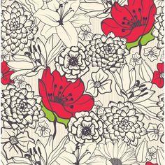 WallsNeedLove Accent Bouquet Self-Adhesive Wallpaper - Wallpaper at Hayneedle