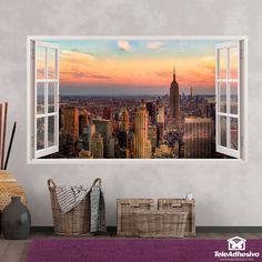 Pegatinas para decorar con forma de ventana-Teleadhesivo Empire State Building, Versace Wallpaper, New York Skyline, Froggy Stuff, Frame, Painting, Tattoos, Home Decor, Window Frames