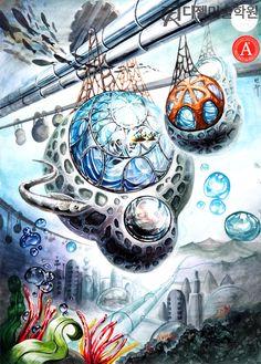 Science Fiction Art, Fine Art, Illustration, Drawings, Fantasy Art, Korean Art, Art, My Arts, Composition Design