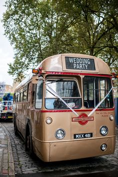 Old Hollywood Inspired London City Wedding by Louise Adby Photography | Vintage Bus