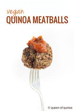Vegan Quinoa Meatballs using mushrooms, lentils and quinoa. Click through for the whole recipe --> www.simplyquinoa.com