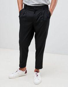 241b1e88d86 ASOS DESIGN tapered crop smart pants in black with pleats Belt Tying