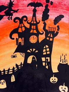 Spooky Victorian Houses art project. Perfect for Halloween!