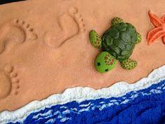 polymer beach book cover  #beachscene #littleturtle #footprints