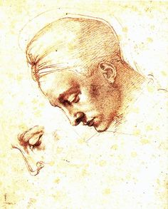 Michelangelo, Study of a Head, Red Chalk, 1530