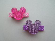 Pink & Purple Minnie Mouse Inspired Hairclips, Disney Hairclips, Mickey Mouse Hairclips, Disney Hairbow, Girl Hairbow, Hair Accessories