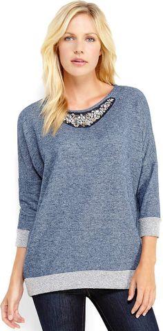 Joseph A Navy Embellished Sweatshirt on shopstyle.com