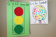 Tot School - Gg is for Green, Go and Gumball Tot School - Hh is for Hippos, Hermit Crabs and Heroes Owen and Eli: 40 months old The Letter . Letter A Crafts, Letter Art, Preschool Crafts, Crafts For Kids, Preschool Ideas, Letter G Activities, Cool Lettering, Learning The Alphabet, Tot School