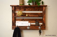 Rustic Entryway organizer Keys Phone Mail Holder Hat Coat Rack Hooks With Shelf Red Finished Wood by DansRusticCreations on Etsy https://www.etsy.com/listing/187562666/rustic-entryway-organizer-keys-phone
