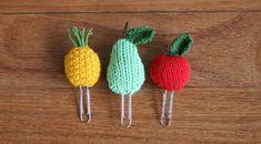 10 weird and wonderful knitting patterns: fruit bookmarks by Amalia samios