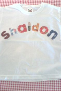lovely SHALDON in devon Applique Letters, Hand Applique, Personalized Tee Shirts, Cream Tees, Applique Designs, Devon, Fabric, Clothes, Fashion