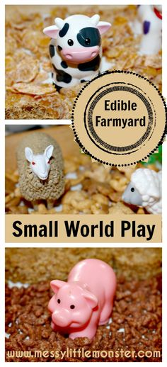 Farmyard Small World Play Edible farmyard small world play in a tray. Taste safe farm animal activity for babies, toddlers, preschoolers, eyfs.SAFE SAFE may stand for: Eyfs Activities, Animal Activities, Craft Activities For Kids, Infant Activities, Activity Ideas, Preschool Ideas, Farm Animal Crafts, Farm Crafts, Farm Animals