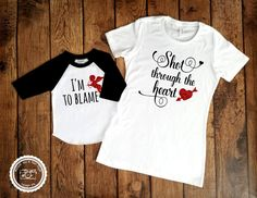 af2916033c7 Valentines Day Mommy and Me- Shot Through the Heart- Bon Jovi Shirt- Baby  First Valentines Outfit- Mother Son Mother Daughter Matching-  063 by ...