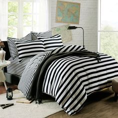 QzzieLife High Quality Microfiber 1500T 4pc Bedding Duvet Cover Sets Striped Black White Size Full/Queen