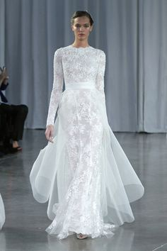 Candic silk white chantilly lace embroidered long sleeve column gown