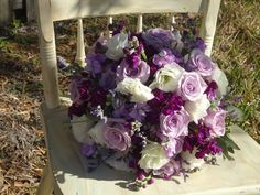 lavender Roses, white lisianthus and stock