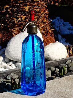 siphon. Seltz. Rare Siphon Bleu à Pastilles. BOURG.