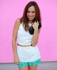 Sydne Style wears Hunter Bell's white blouse