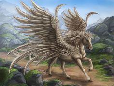 Pegasus, ou Pégaso, é a criatura nascida do sangue de Medusa, após morta por Perseu. Medusa estava grávida de Poseidon, e por isso a criatura é equina. São animais doceis, embora difíceis de domar, possuem uma velocidade fora do normal, tanto em terra como no ar, além de uma beleza incomparável e uma coragem irrefutável.