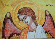 Icona in ceramica dipinta a mano sù pannello in legno.Angelo Custode.