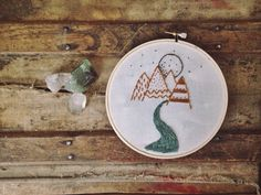 Mountain Range in Yellow  Embroidery Hoop Art 6 by WHGoods on Etsy, $30.00