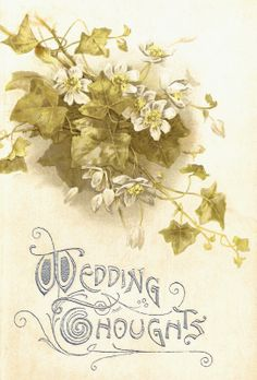 Free Vintage Flower Graphic: Vintage Wedding Book Cover with Flowers...This would make a lovely gift tag for a wedding gift or a beautiful design on a greeting card!