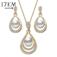 17KM Bridal Simulated Pearl Jewelry Sets Women Brinco Hollow Out Necklace Crystal Earrings For Wedding Party Accessories Gifts