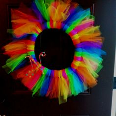 Tutu wreath! - for a girls b-day party Use hairspray to make it stay the way you want it to (: