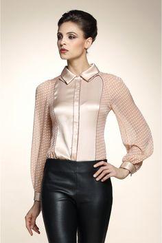 Silk blouse with polka dot sheer chiffon sleeves
