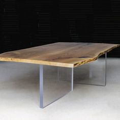 """Bookmatched Live Edge Butternut Coffee Table with a """"T"""" acrylic base"""