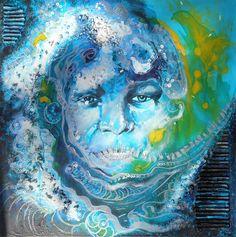 #Schilderij 'Go with the flow' van Jacqueline Zeegers.  Dit werk is te koop via #Kunstmarktplaats.nl.  http://kunstmarktplaats.nl/ads/go-with-de-flow/ #kunst #art #painting #blauw #Popart #vrouw