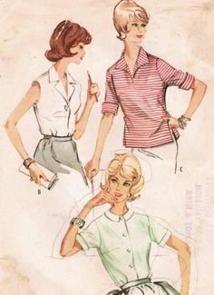1960s McCall's 5751 Vintage Sewing Pattern Junior's Set of Shirts Size 11 Bust 31-1/2