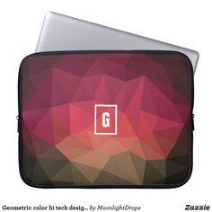 Geometric color hi tech design laptop sleeve.