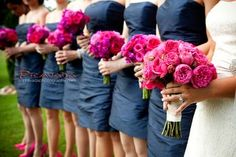 Hot Pink Rose Bouquets, Navy and pink