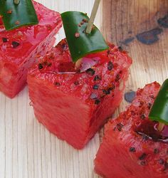 Watermelon chili sliders by Sagegreen via food52: Lime, olive oil, white balsamic vinegar, serrano or jalapeno peppers, Aleppo pepper and artisan salt. #Watermelon #Sagegreen #food52