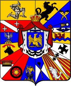 Grandes armes de Joachim Murat, Roi de Naples Gironné de 15 quartiers : 1, en forme de franc-quartier, de l'île de Sicile; 2, de Naples; 3, du Labour; 4, de ?; 5, de Basilicate; 6, de Basse-Calabre; 7, de Haute-Calabre; 8, d'Otrante; 9, de Bari; 10, de Capitanate; 11, de Molise; 12, de Bas-Principat; 13, des Basses-Abruzzes; 14, des Hautes-Abruzzes; 15, de ?; sur-le-tout, de Napoléon, sur les insignes de Grand-Amiral de l'Empire, avec son pavillon de gueules.