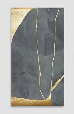 Custom Charcoal Kintsugi - Acrylic Ink on Japanese Paper - 26 x 14 Kintsugi, Tapete Gold, Gold Leaf Art, Figurative Kunst, Art Japonais, Wabi Sabi, Stone Art, Installation Art, Japanese Art